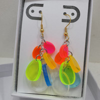 Rainbow dangle earrings with silver and gold tone Spring earrings Set #2