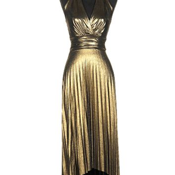 Old Hollywood style vintage inspired gold lame dress, featuring soft gold metallic fabrication throughout, sleeveless slip on style, plunging overlapping v-neckline, adjustable self-tie halter straps, accordion pleated high and low skirt, wide waist-band w