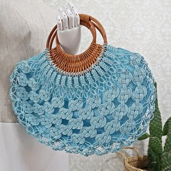 Modern Macrame + Wood Handle Handbag