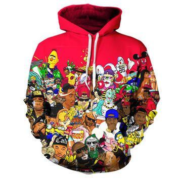 Real American size Hip Hop Collage Classic All Legends 3D Sublimation Print OEM  Hoody/Hoodie  Custom made Clothing plus size