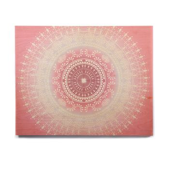 "Famenxt ""Rose Gold Vibes"" Red Beige Tribal Abstract Vector Digital Birchwood Wall Art"