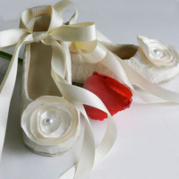 14 Colors Avail - Toddler Couture Ballet Slipper - Flower Girl Ballet Flat - Off White (Ivory), Satin &  Lace - Baby Souls Baby Shoes