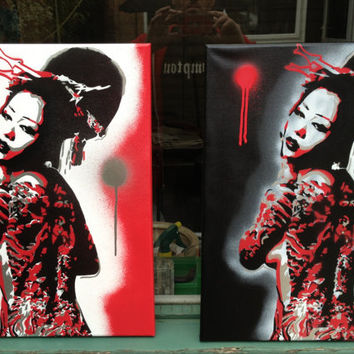 painting of nude tattooed geisha girl,stencils & spraypaints on canvas,red,silver,black,japanese,art,design,home,living,urban,beauty,woman,
