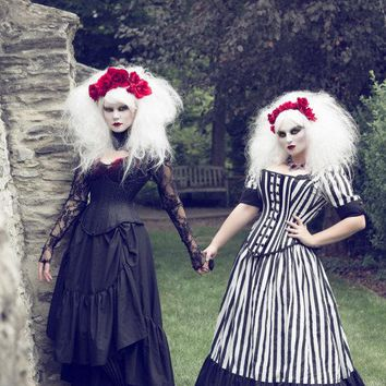 Tim Burton Wedding Gown - Black White Stripe Victorian Steampunk Dress