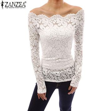 ZANZEA Women Tops 2018 Autumn Sexy Blusas Off Shoulder Slash Neck Lace Solid Shirts Long Sleeve Slim Casual Blouses Plus Size
