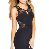 Little Black Fearless Floral Lace Panel Dress
