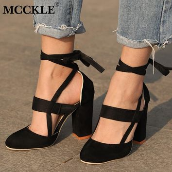 MCCKLE Plus Size Female Ankle Strap High Heels Flock Gladiator Shoes Lace Up Thick Heel Fashion Hollow Women Party Wedding Pumps