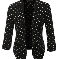 LE3NO Womens Textured Polka Dot 3/4 Sleeve Blazer (CLEARANCE)