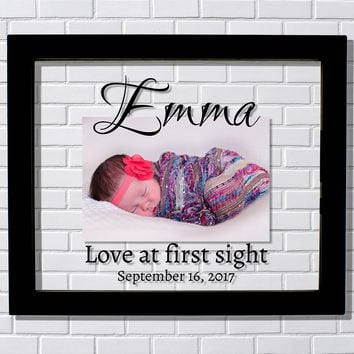 Birth Announcement Picture Frame Love at first sight Push Present Gift New Baby Reveal Personalized