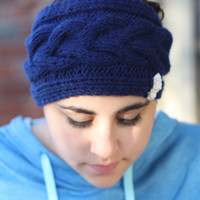 Knitted Headband - Chocolate , Royal Blue, Red, Ivory, Green, Gray, Cable Knit ,infinity, Crochet,Wide Headband, leather, Bow