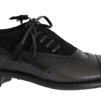 Black Leather Wingtip Oxford Shoes