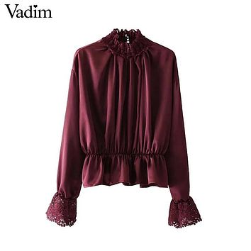 Vadim vintage lace patchwork satin shirts ruffled neck butterfly long sleeve pleated blouse autumn casual tops blusas LT2452