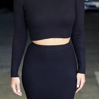 Black Long Sleeve Cropped Top and High Waisted Pencil Midi Skirt