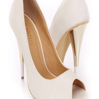 White Reptile Texture Single Sole Heels Faux Leather