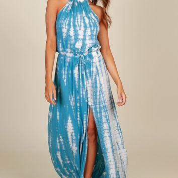 Ocean Waves Tie Dye Maxi Ivory/Blue