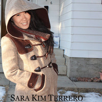 Tweed Duffle Coat with Patch Pockets and Leather