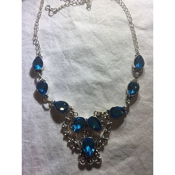 Blue Handmade Gothic Styled Silver Finished Genuine Facetted Antique Volcanic Glass Choker Necklace