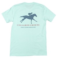 Derby Horse Tee Shirt in Ocean Teal by Collared Greens