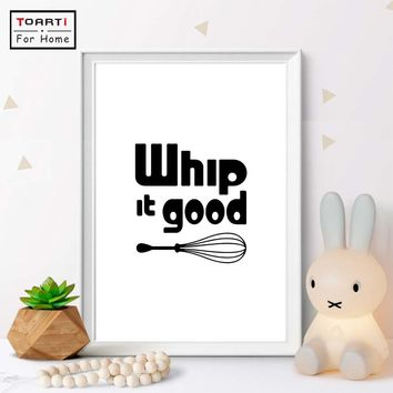 Whip It Good  Wall Art Canvas Art Print Painting Poster Kitchen Quote Decor Gift Print Black & White Whisk Modern Humor Fun