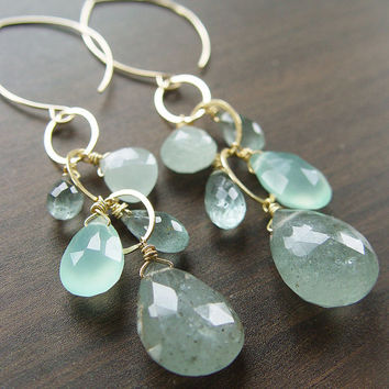 Moss Aquamarine Chain Earrings Gold