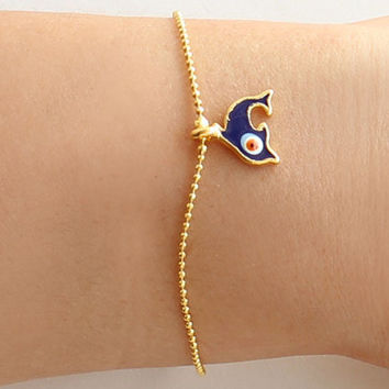 Evil eye bracelet handmade blue dolphin evil eye gold plated ball chain istanbul jewelry ethnic arabic best friend birthday gift