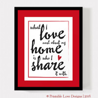 What I Love Most About My Home Is Who I Share It With || home sweet home quote, love print, family quote, red typography, housewarming gift