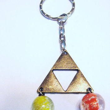 Triforce  Zelda key chain  in antique bronze triangles glow in the dark glass beads