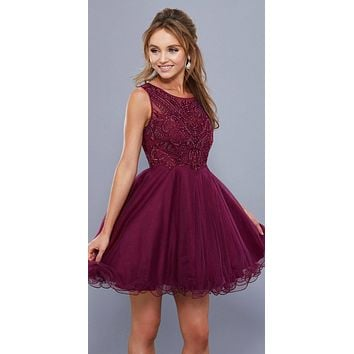 Embroidered Short Prom Dress Illusion Neckline Sleeveless Black Cherry