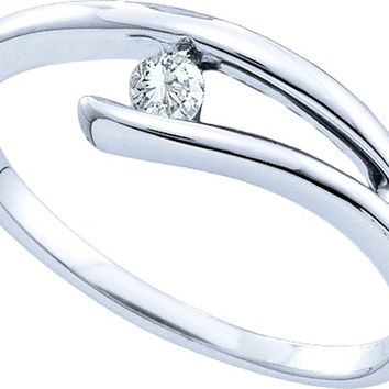 10kt White Gold Womens Round Diamond Solitaire Promise Bridal Ring 1/12 Cttw 26001