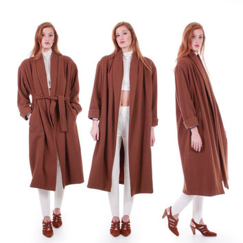 90s Vintage Long Wool Coat Dark Tan Brown Draped Minimalist Modern Belted Oversized Winter Clothing Women Size XL+