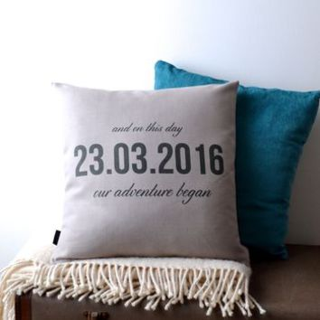'Our Adventure Began' Wedding Cushion Cover