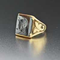 Antique Art Deco Gold Hermatite Mens RIng 1920s
