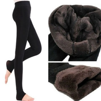 New Women's Thick Warm Fleece lined Fur Winter Tight Pencil Leggings Sexy Pants #mgsu = 1931538116