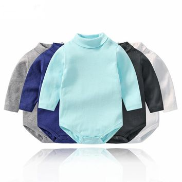 Lawadka Turtleneck Winter Baby Boy Bodysuits Solid Bodysuit for Toddlers Long Sleeve Cotton Costume Newborn Twin Baby Clothing