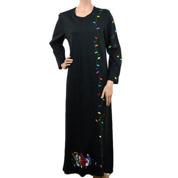 Vintage Ugly/Tacky Christmas Maxi Dress Black with Strings of Light and Rhinestones/ The Quacker Factory/ Sweater Party
