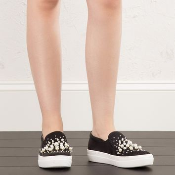 Steve Madden Satin Sneakers in Black