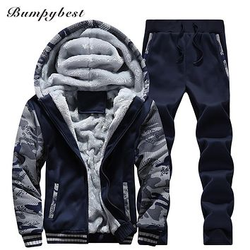 Men's Sportswear Winter Fashion Brand Tops Pants Sets Casual Slim Fit Velvet Warm High-Quality Male Clothing