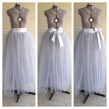 Floor Length/Tea LEngth Adult grey/gray silver Tulle Tutu Skirt Satin Ribbon Sash Dance Great Gatsby