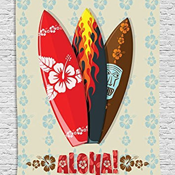 Hawaiian Gifts Aloha Hawaii Surfboards Tiki Tropical Flowers Orchids Surf Beach Volcano Indian Feathers Colorful Tapestry Wall Hanging Tapestry Living Room Bedroom Dorm Decor, Beige Red Brown Black
