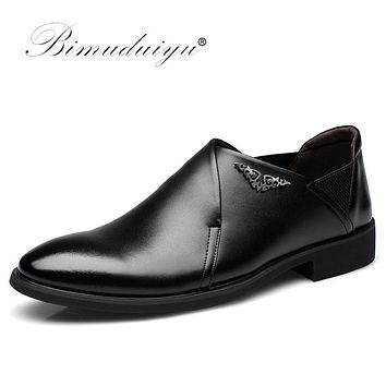 New Men Dress Slip-on Black Brown Oxford Shoes Fashion Casual Male Leather Pointed Toe Party And Wedding Shoes