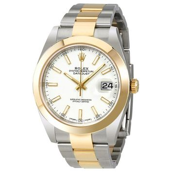 Rolex Datejust 41 White Dial Steel 18K Yellow Gold Oyster Mens Watch 126303WSO