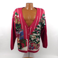 Ugly Christmas Sweater Vintage Cardigan tree presents Holiday Tacky Women's size L