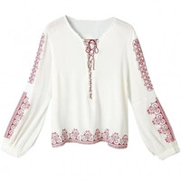 White Graphic Print Long Sleeve Blouse