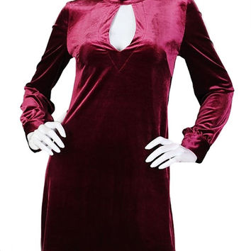 Keyhole to My Heart Slit Back Velvet Dress - Berry