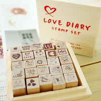 25 piece Love Diary Wooden Rubber Stamp Set