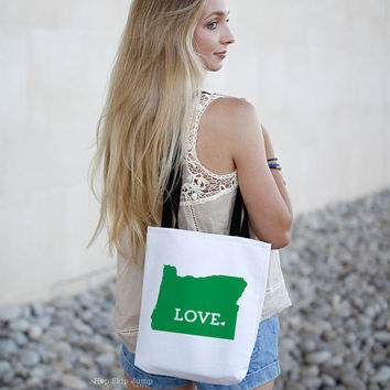 Oregon State Love Tote Bag // Travel Gift // College University Student Gift Idea // Free US shipping