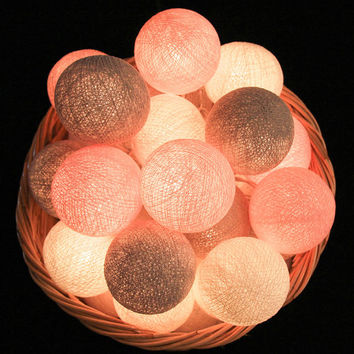 20 Handmade Cotton Ball Only for String Lights, Fairy, Patio Party, Wedding Decor, Outdoor, Bedroom - Pastel Pink Grey White