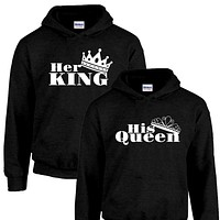 Her King His Queen Couples Hoodie Set