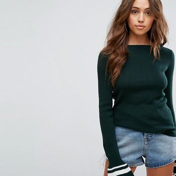 Boohoo Striped Flared Cuff Sweater at asos.com