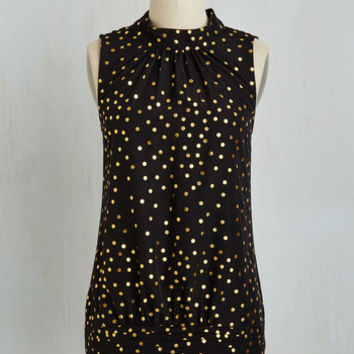 Fairytale Mid-length Sleeveless Midtown Magnificence Top in Dotted Black